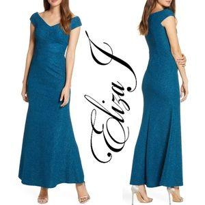 NEW, Eliza J, Wide V-Neck Sparkle Trumpet Gown